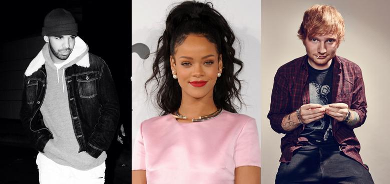 Drake, Ed Sheeran y Rihanna son los artistas más escuchados en Spotify en 2015.