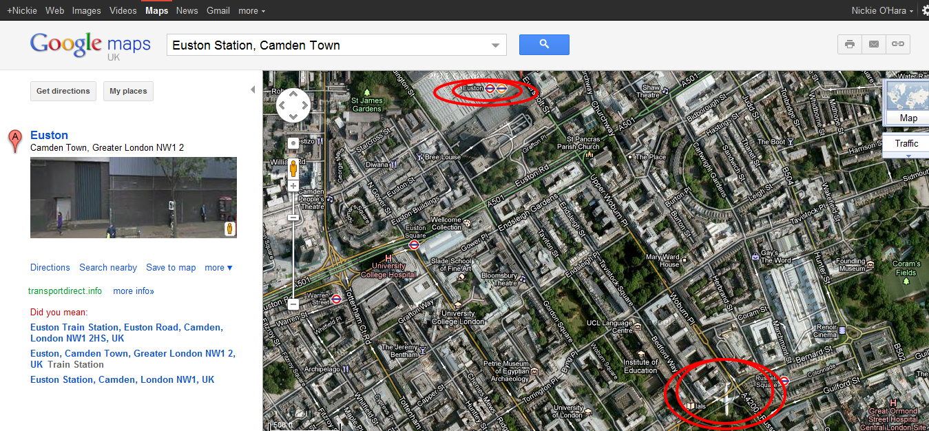 google maps London Euston Russell Square