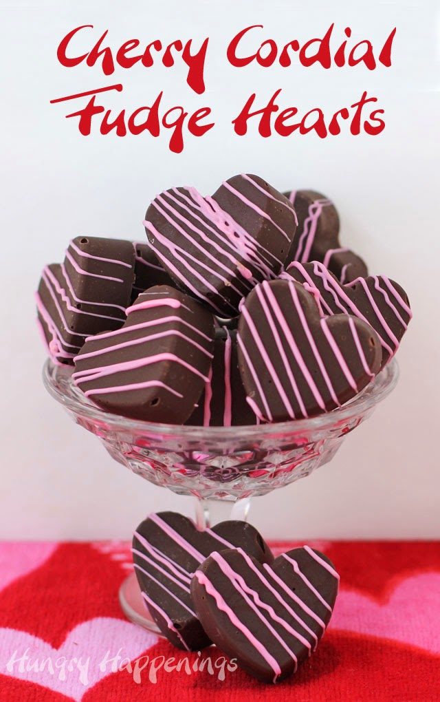Cherry Cordial Fudge Hearts | HungryHappenings.com