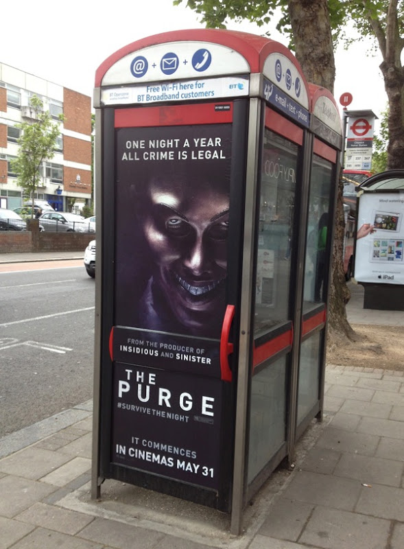 Purge telephone box ad London