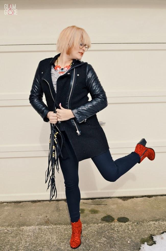 Nasty Gal Shoe Cult - Leopard Boots - contrast sleeve coat