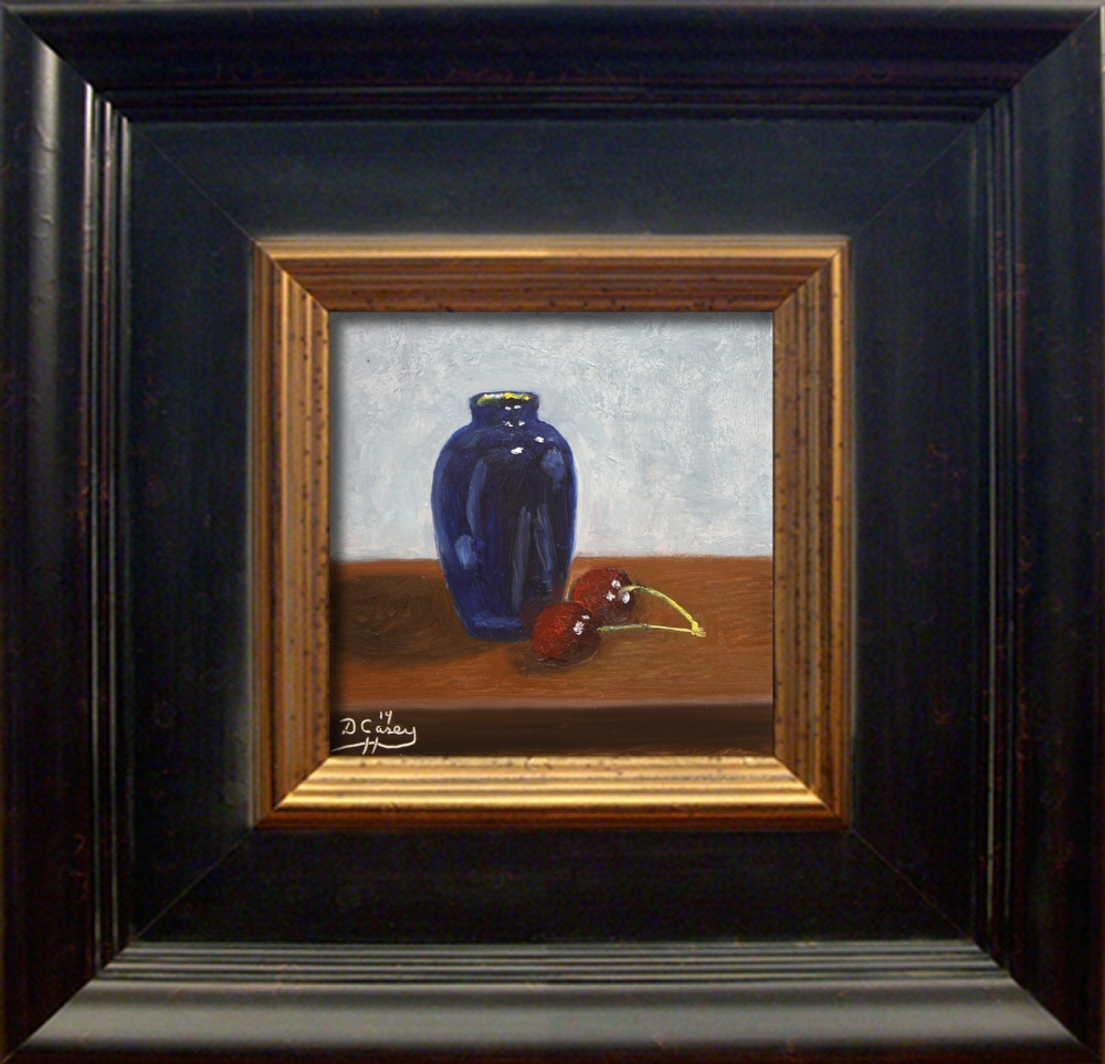 Kitchen Painting - Bud Vase and Cherries 001a 6x6 oil on gessobord - Dave Casey - TheDailyPainter.jpg