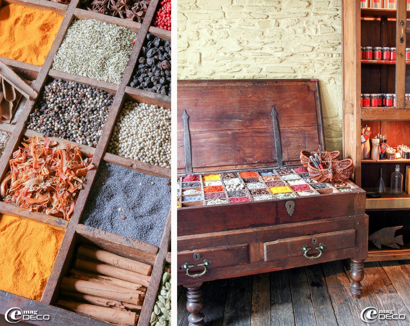 La boutique 'Épices-Roellinger' à Cancale en Bretagne avec sa large palette de poudres d'épices