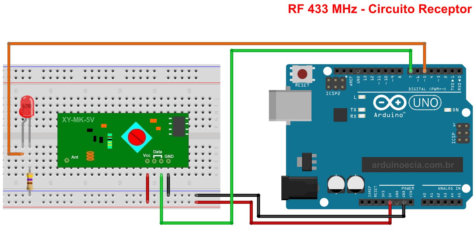 Circuito Arduino Módulo RF 433 MHz - Receptor