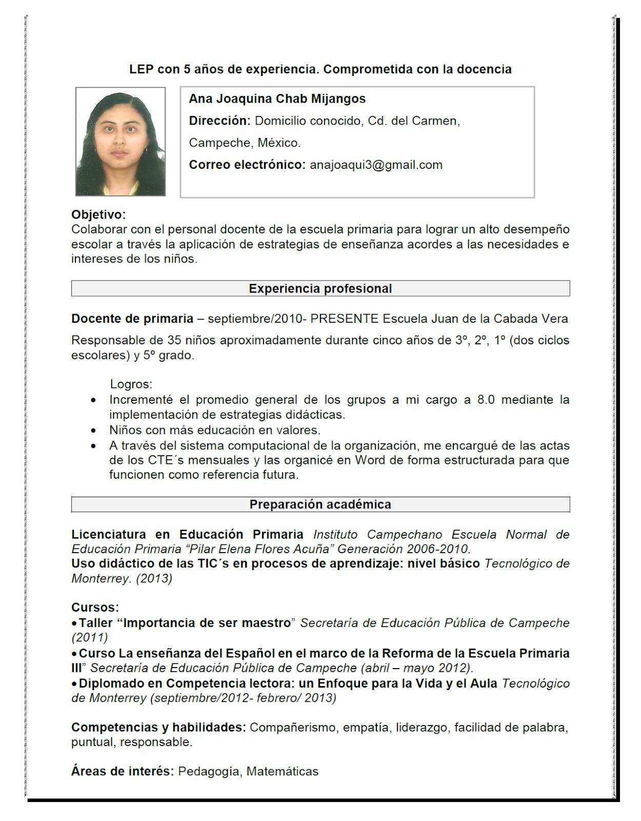 E-portafolio de Ana Chab Mijangos: CURRÍCULUM