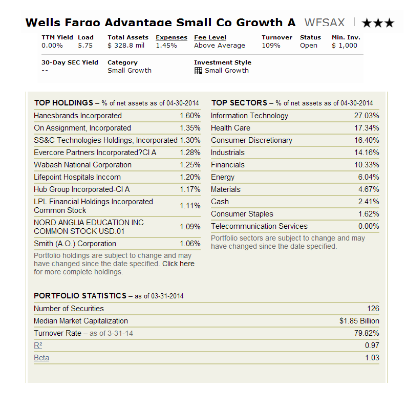 Wells Fargo Advantage Small Company Growth A (WFSAX)