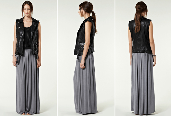 how to wear a grey jersey maxi skirt