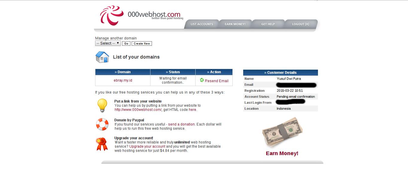 Cara Daftar Domain dan Hosting Gratis di 000webhost.com