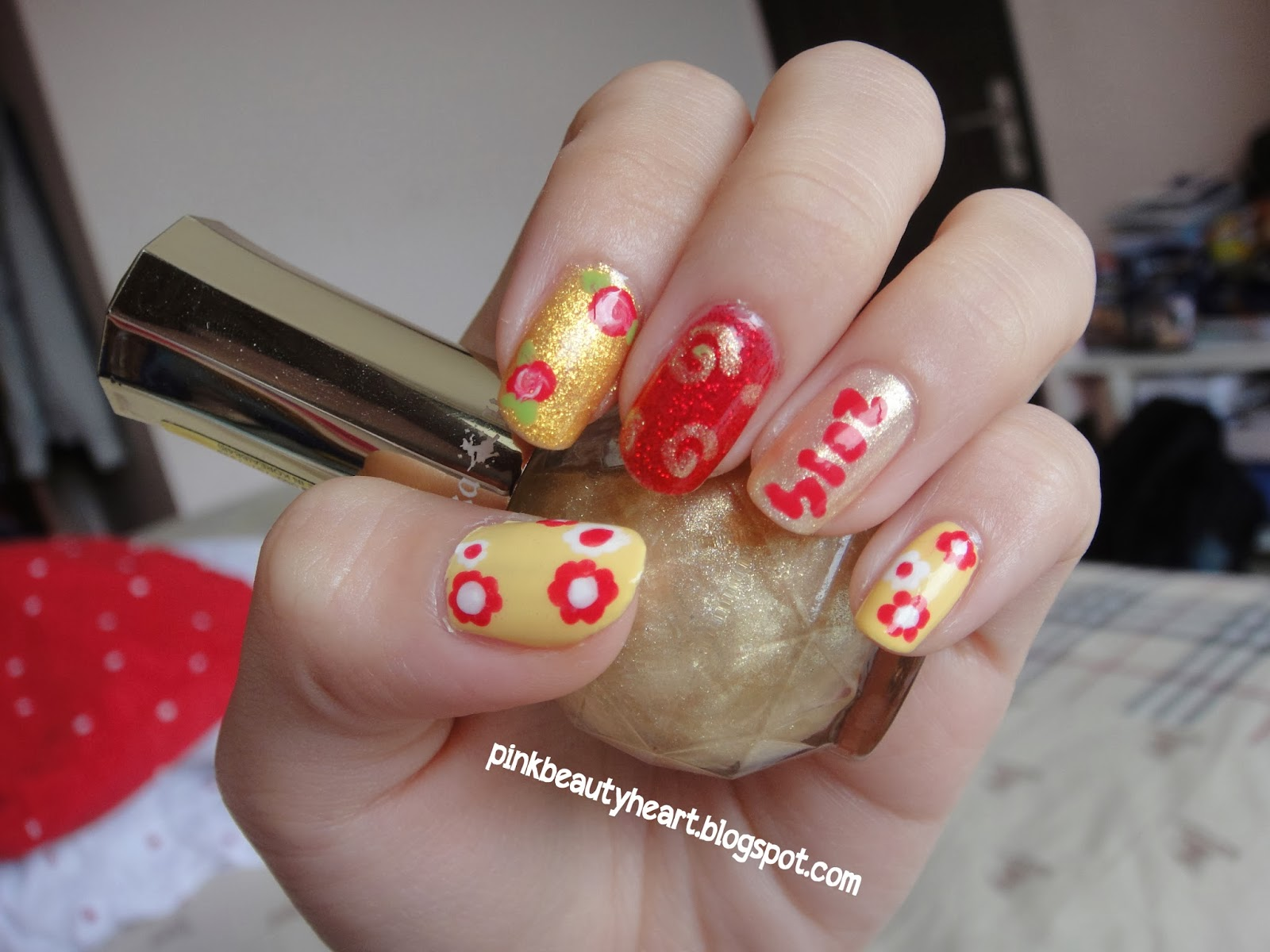 Pink manicure chinese new year nail art jean milka nail art special for chinese new year i am sorry that its a bit late but you still can mange to tried this tonight or use any others color which prinsesfo Images