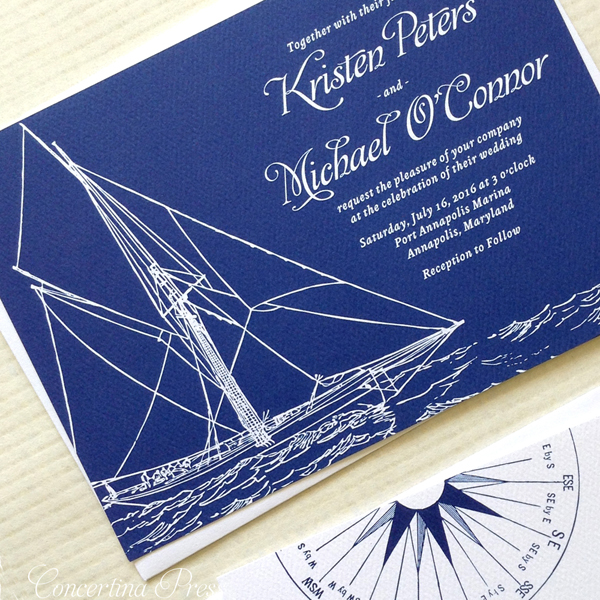 these navy sailboat wedding invites are perfect for a boat wedding