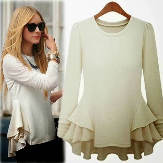 Adorable and Long Sleeve Contrast Chiffon Ruffles T-Shirt for Stylish Ladies