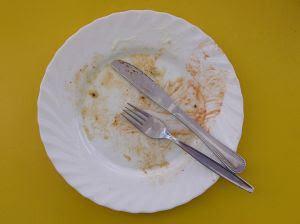 Scrambled eggs on a plate - eaten