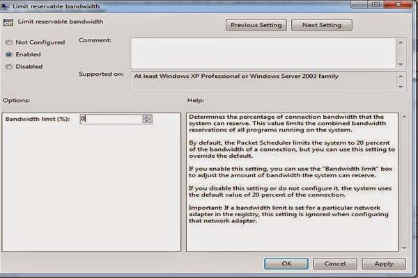 edit Limit servable bandwidth