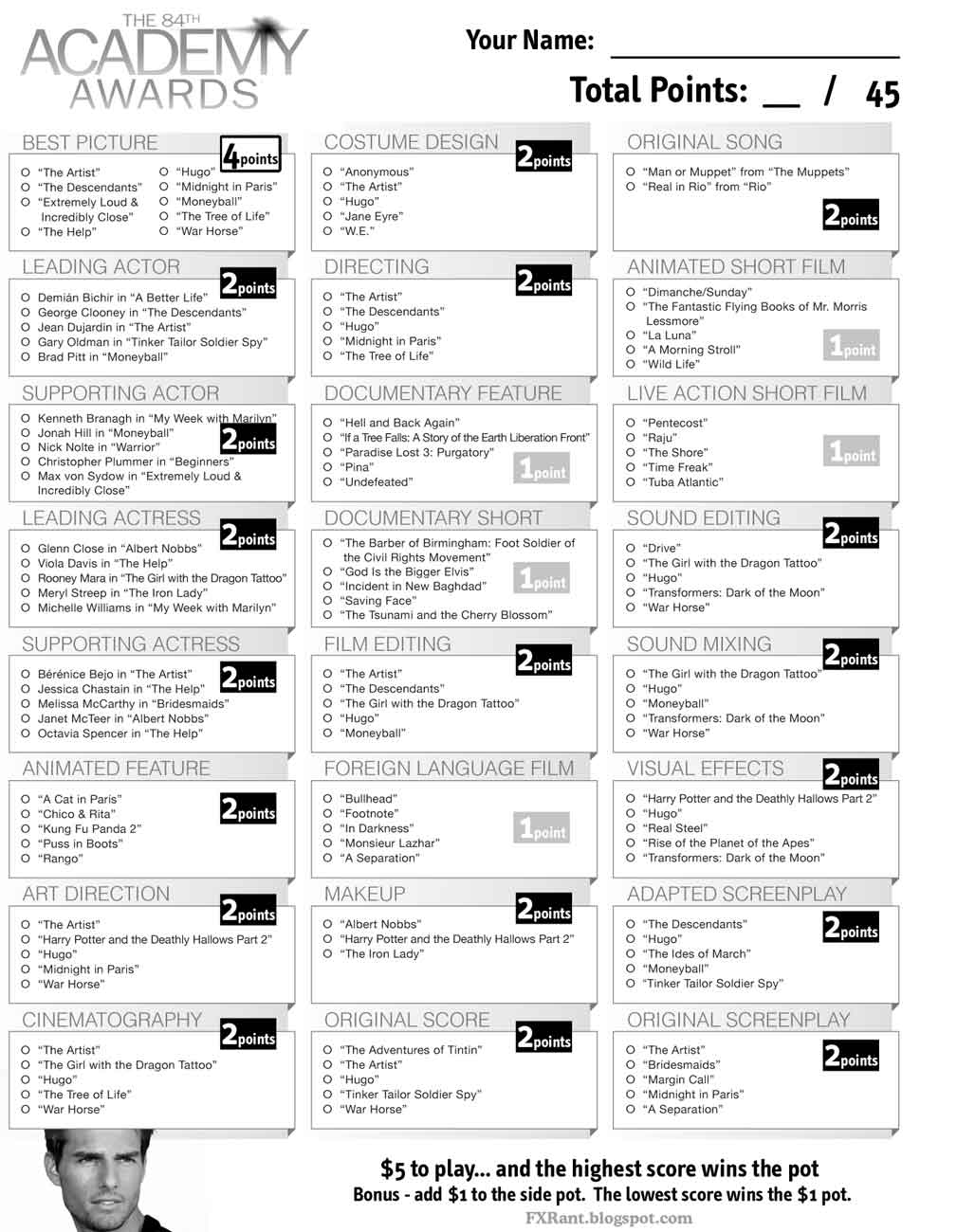 image relating to Printable Ballot identify Printable Ballot For Academy Awards 2009
