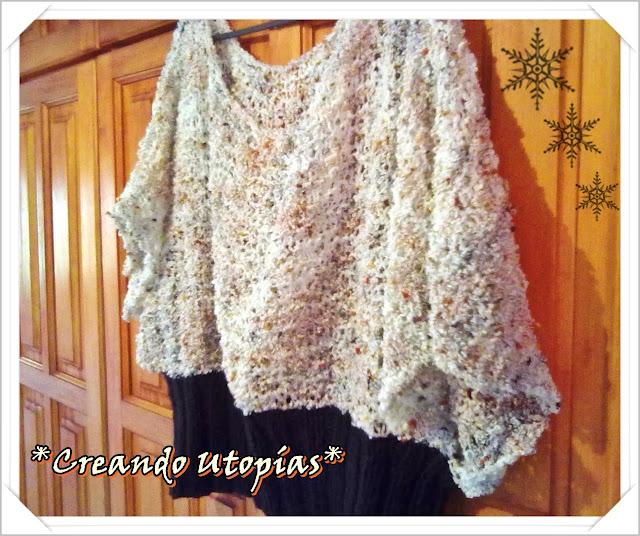 Creaciones MDO: Suéter poncho tejido