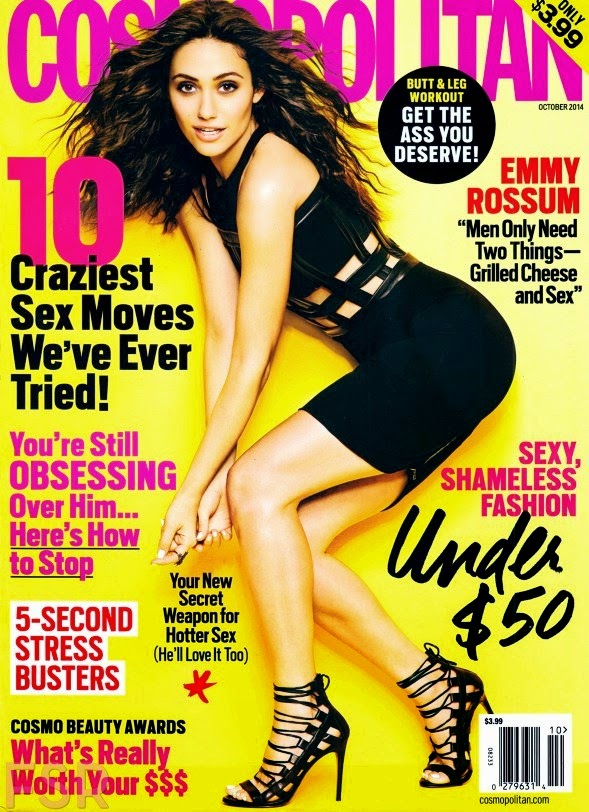 Emmy Rossum goes chic for US Cosmopolitan's October 2014 issue