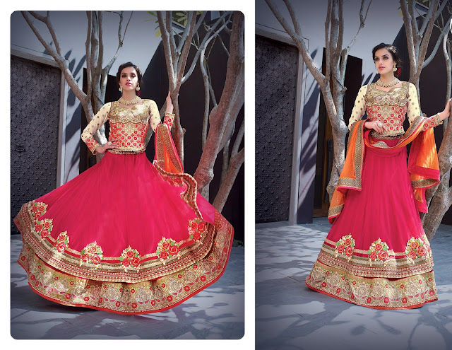 Resham Work Pink Net Embroidered Lehenga With Art Silk Choli