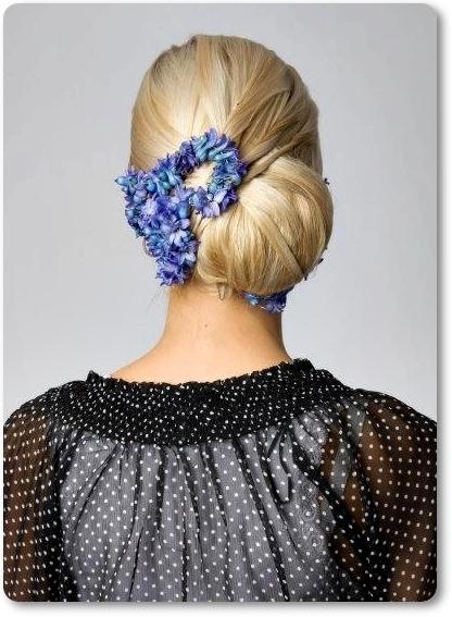 hårblommor, blåa hårblommor, hårdekoration