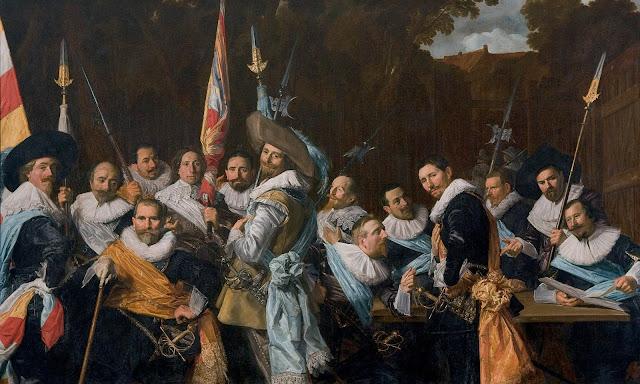 De officieren van de Sint-Adriaansdoelen, group portrait,Frans Hals