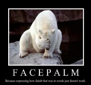 En isbjørn der facepalmer