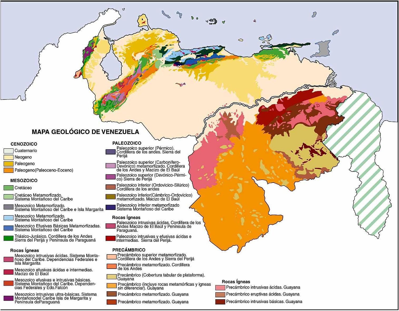 Mapa geológico de Venezuela en Infografía