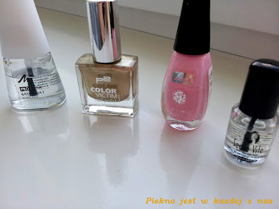 Manhattan Base Coat, P2 Color Victim nr 900 next exit:party!, Wibo Your Fantasy nr 35, Seche Vite Top Coat