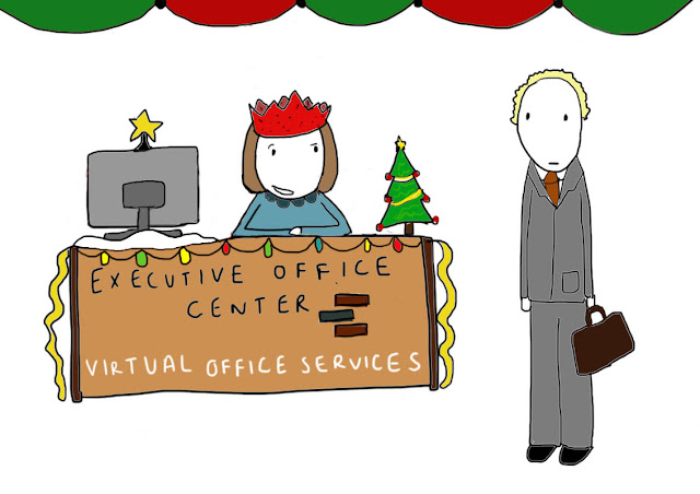 "Michelle, receptionist for Queens virtual office services at the Executive Office Center at Fresh Meadows, tells Mr. Cabbot she'll be looking for something more than a mere ""virtual"" kiss under the mistletoe."