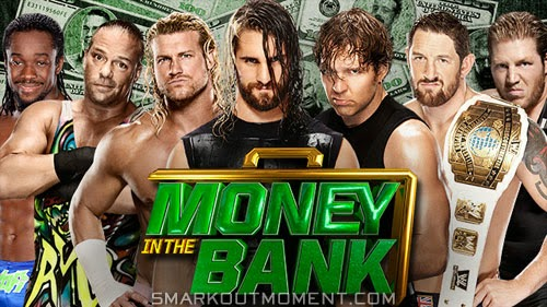 Seth Rollins wins Money in the Bank Dean Ambrose MITB Bad News Barrett cash-in