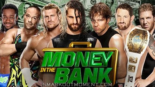 Seth Rollins wins Money in the Bank Dean Ambrose MITB Bad News Barrett cash-in