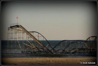 seaside heights, nj jersey shore casino pier rollercoaster in atlantic ocean hurricane sandy