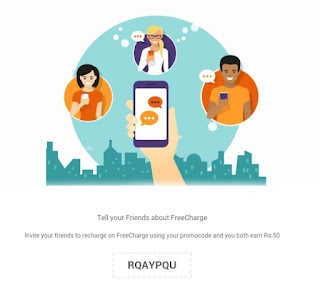 Freecharge  Get Rs.50 Cashback on Recharge of Rs.10 + Refer and Earn