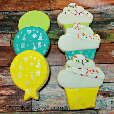Stenciled Birthday Cookies
