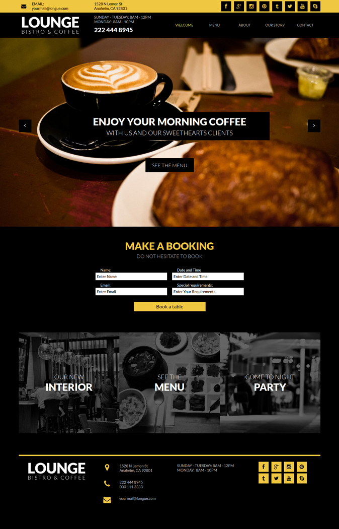 Lounge Multipage Restaurant Business Muse Theme