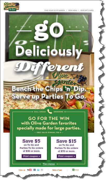 Coupon Fabulous Savings Olive Garden 5 30 Or 15 75 To Go