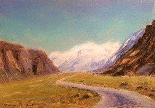 Soft pastel painting of landscape from Leh By Manju Panchal