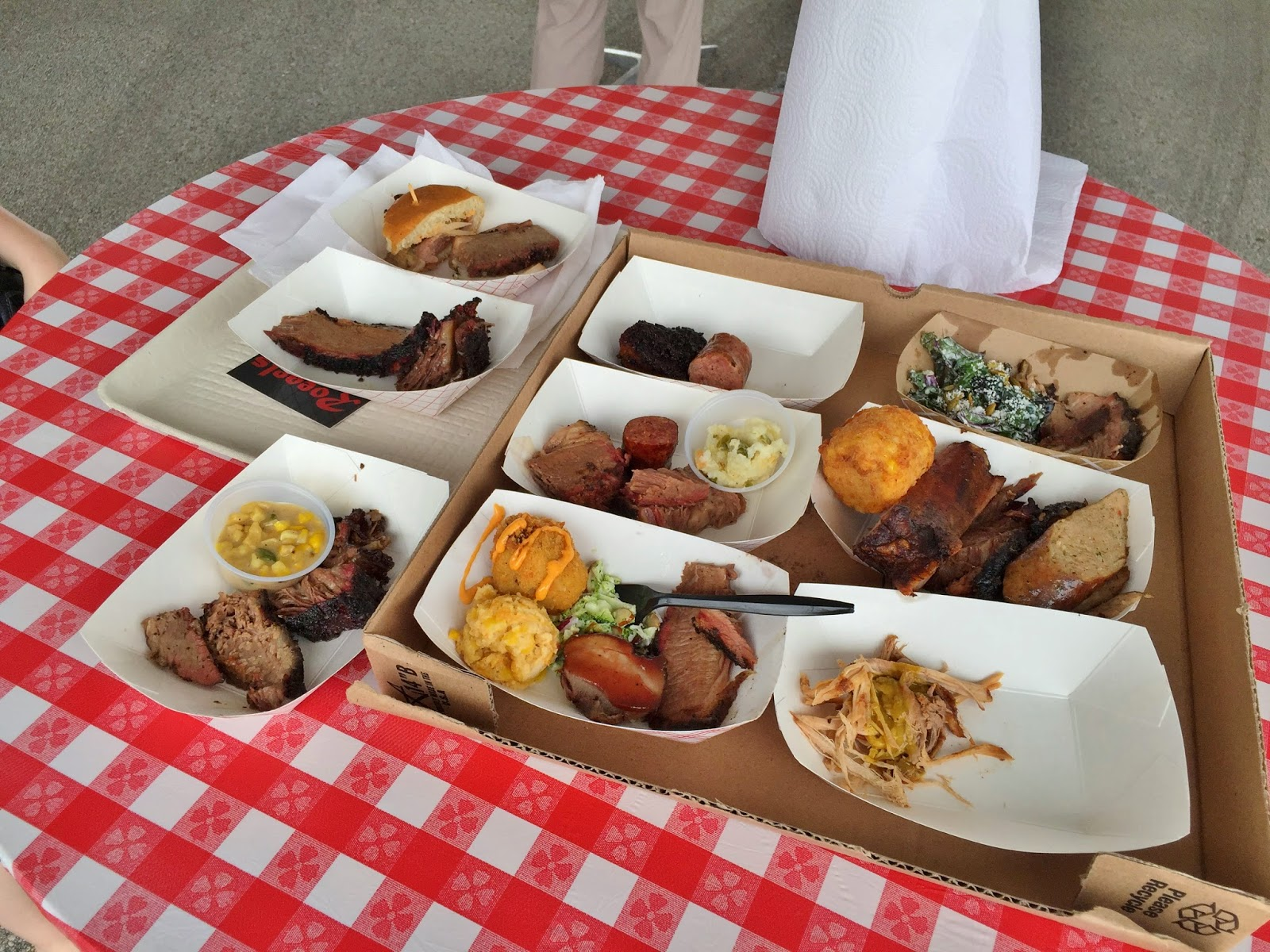 Nine separate sampled of meat from the 2015 Houston BBQ Festival