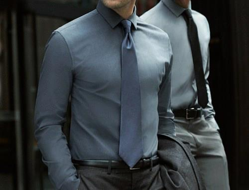 Dark blue shirt and tie for men