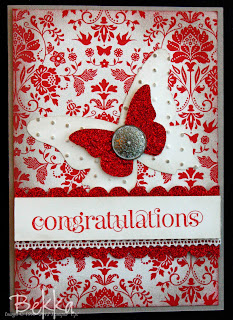 Stampin' Up! Red Glimmer Paper Congratulations Card