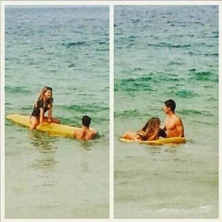 Lívia Lemos tem aulas particulares de surfe com Gabriel Medina