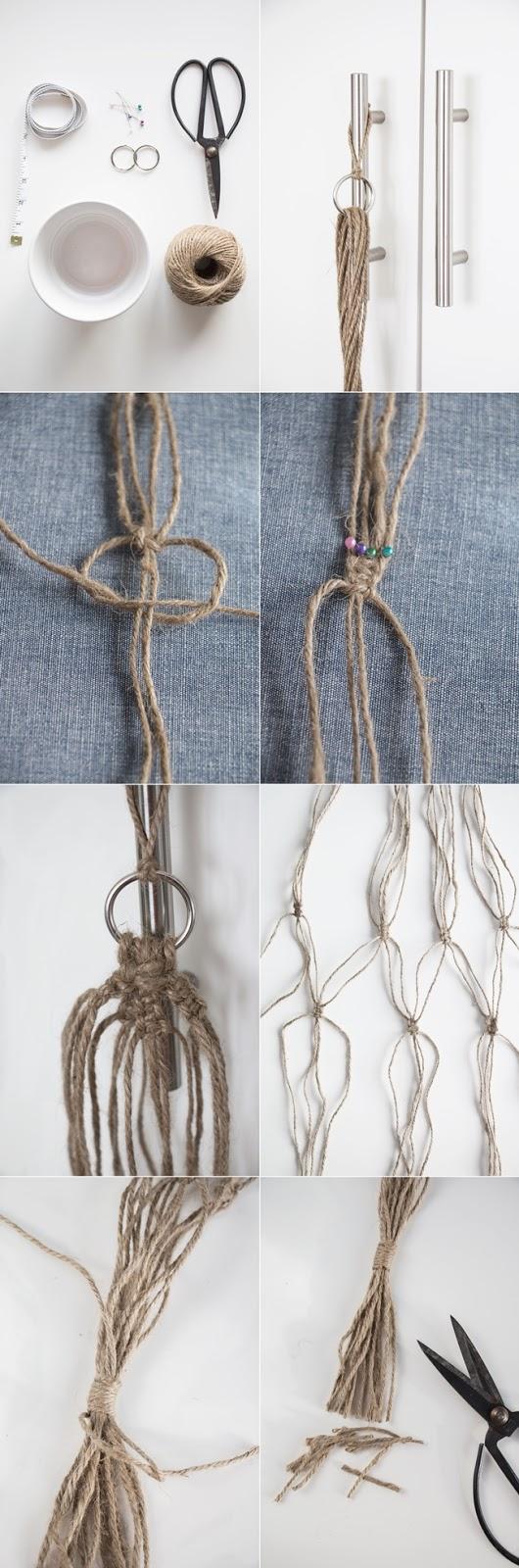 plant hanger, macrame, ampel macrame, diy plant hanger, diy ampel, knyta ampel, göra själv ampel