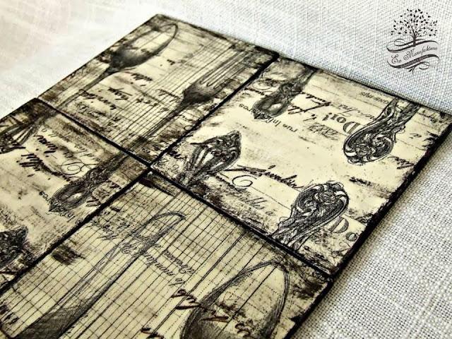 podkładki pod kubki decoupage w stylu rustykalnym Eco Manufaktura rustic style decoupage