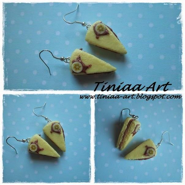 Kolczyki torciki- bananowy, truskawkowy, cytrynowy