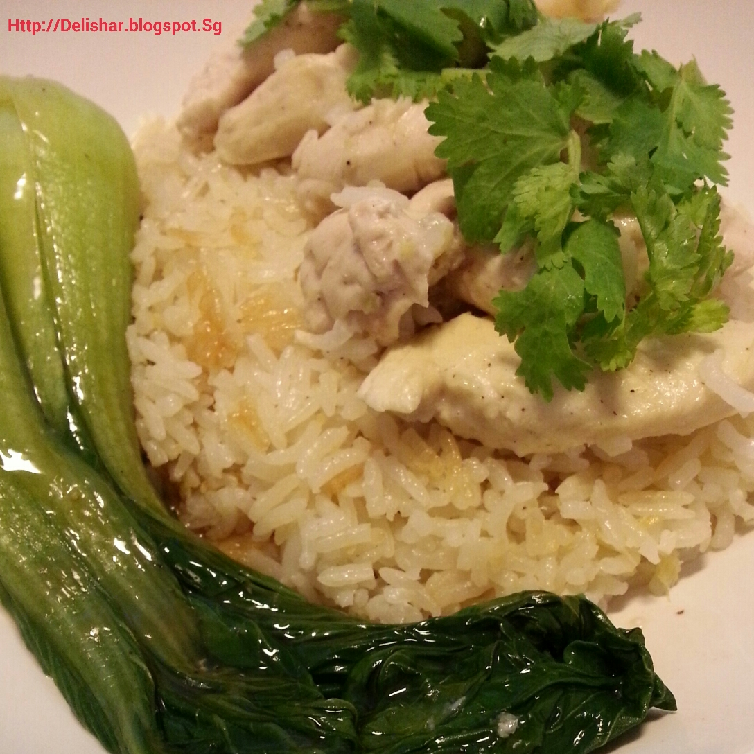 One Pot Hainanese Chicken Rice With Chili Sauce Delishar Singapore Cooking Blog