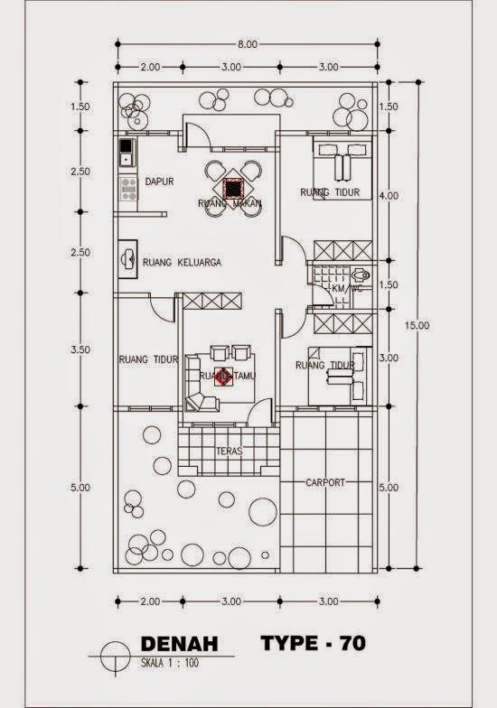 Denah Rumah Minimalis Type 70 1 Lantai Terbaru 2015 Pagar Rumah