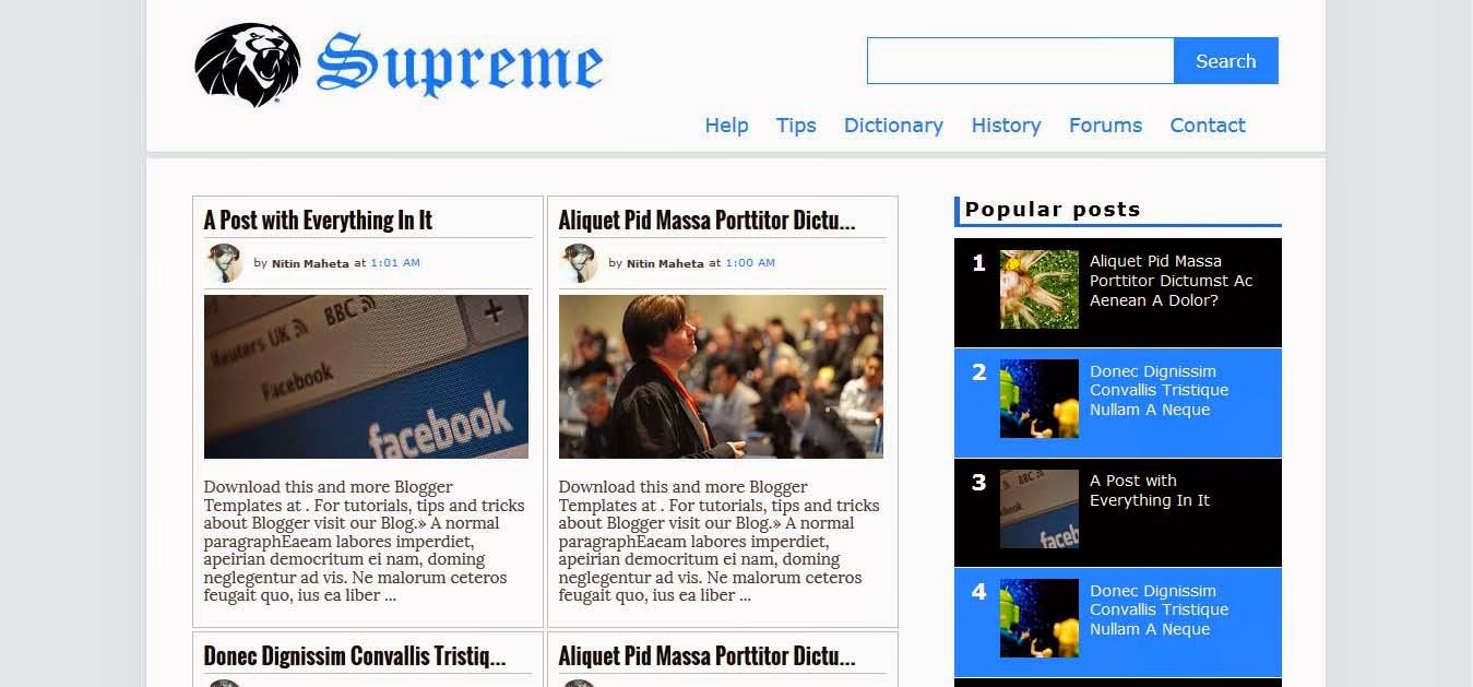 Supreme Blogger Template
