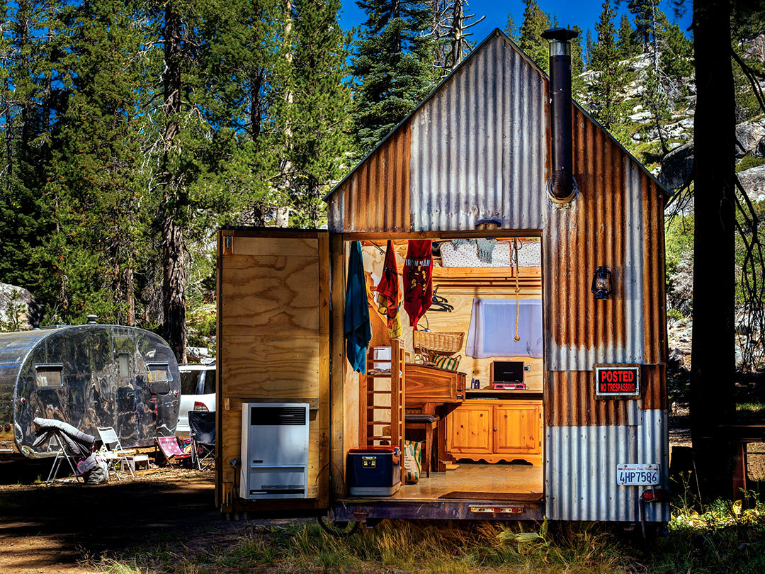 The flying tortoise pro snowboarder mike basich and his Tiny little houses on wheels