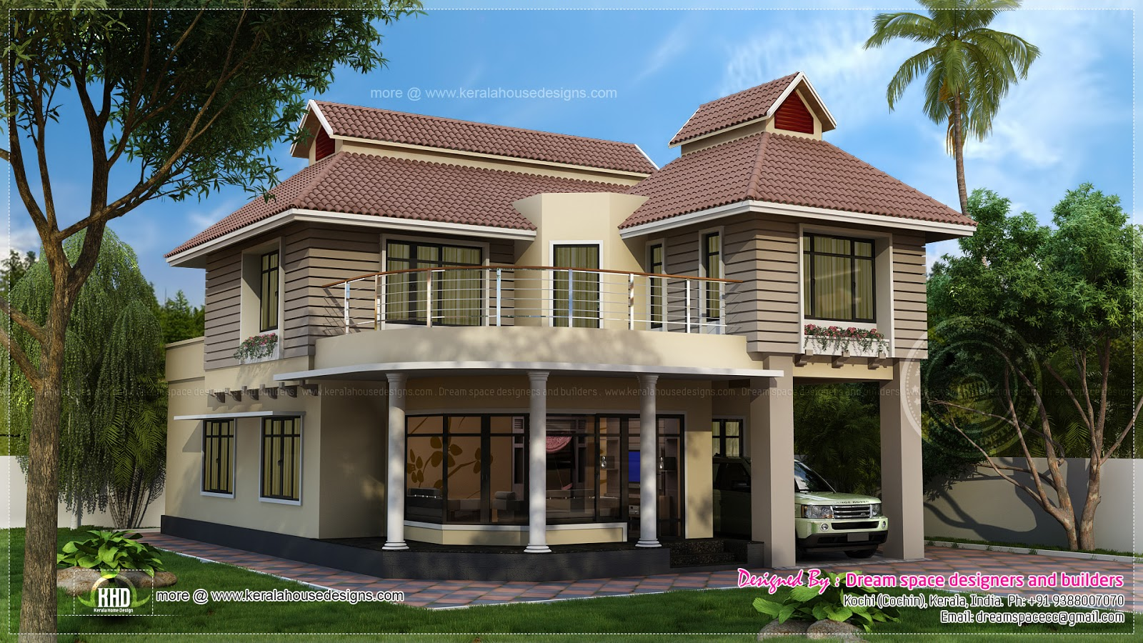 Two storey contemporary fusion villa exterior kerala for 2 story house exterior design