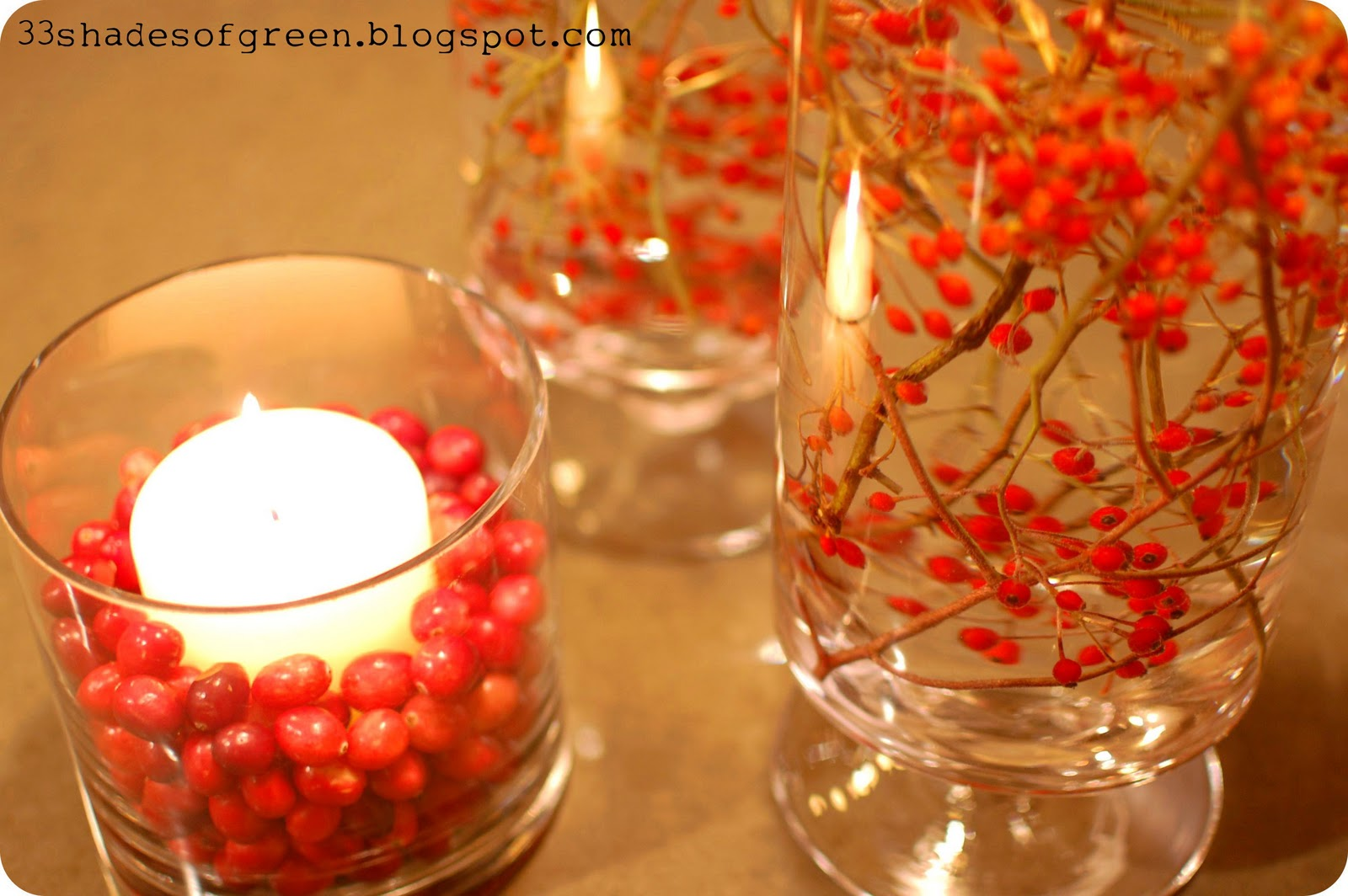 Homemade Centerpiece Ideas : Shades of green handmade holidays easy centerpiece
