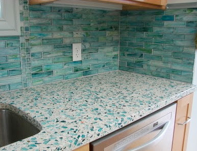 The relished roost wide world of countertops for Crushed glass countertops