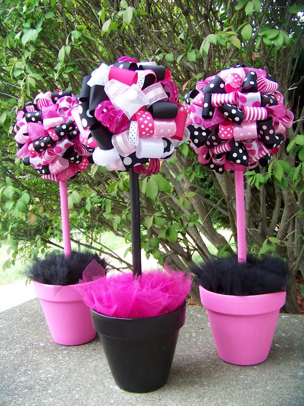 Banana lala bridal shower pink black and white polka